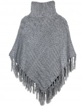 Dahlia Women's Knitted Poncho - Super Thick Multi-pattern Turtleneck Cape - Gray