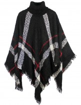 Dahlia Women's Knitted Poncho - Coarse Plaid Turtleneck Cape