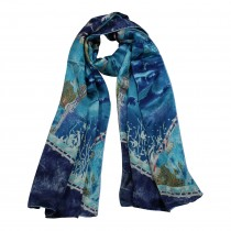 100% Luxury Long Silk Scarf - World Under the Sea - Blue