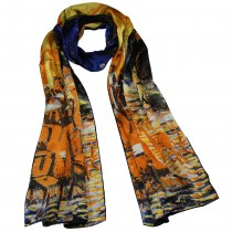 "100% Luxury Long Silk Scarf - Van Gogh ""Cafe Terrace at Night"" - Orange"