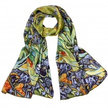 "100% Luxury Long Silk Scarf - Van Gogh ""Irises"" - Green"