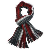 Men's 100% Fine Acrylic Colorful Striped Tassel Ends Knit Long Scarf