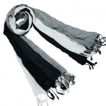 Viscose Men's Triple Color Layer Fringed Scrunch Long Scarf