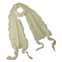 Acrylic & Polyester Fashion Carefree Chiffon Flowers Edge Knitted Long Scarf