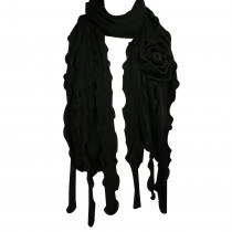 Acrylic Fashion Large Flower Ruffle Knitted Tassels Ends Long Scarf