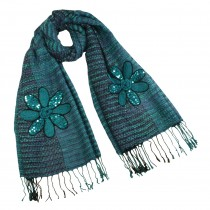 Acrylic Fashion Knitted Sequined Flowers Tassels Ends Long Scarf Shawl