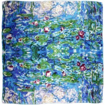 "100% Luxury Square Silk Scarf - Claude Monet ""Water Lilies"" - Blue"