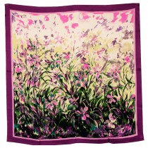100% Luxury Square Silk Scarf - Laurent Monteil Irises Painting - Purple
