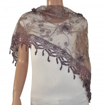 Rayon Polyester Hand Embroidered Scroll Vine Hand Knitted Lace Tassels Triangle Scarf