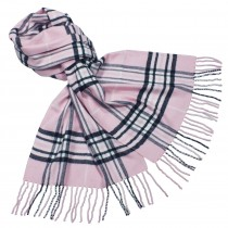 Classy Plaid Viscose Silky Cashmere-Feel Tassel Ends Long Scarf