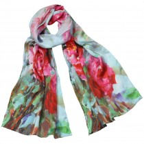 100% Luxury Long Silk Scarf - Flower Painting Collection