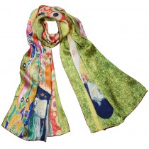 "100% Luxury Long Silk Scarf - Gustav Klimt ""Hope II"" - Green"