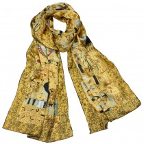 "100% Luxury Long Silk Scarf - Gustav Klimt ""Adele Bloch-Bauer I"" - Gold"