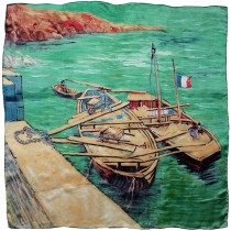 "100% Luxury Square Silk Scarf - Van Gogh ""Landing Stage with Boats"" - Blue"