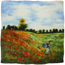 "100% Luxury Square Silk Scarf - Claude Monet ""Poppy Field in Argenteuil"" - Red"