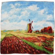 "100% Luxury Square Silk Scarf - Claude Monet ""Tulip Field with the Rijnsburg Windmill"" - Red"