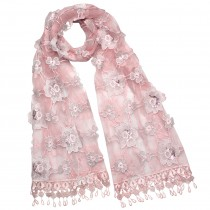 Hand Embroidered Rose and Trillium Flower Shining Sequins Rayon Polyester Lace Long Scarf Shawl