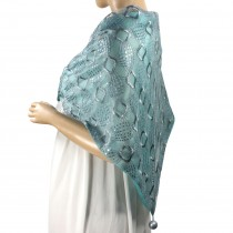 Hand Embroidered Square Shining Sequins Rayon Polyester Lace Triangle Scarf Shawl with Dangling Balls