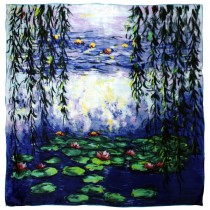 "100% Luxury Square Silk Scarf - Claude Monet ""Nympheas"" - Blue"