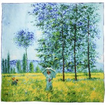 "100% Luxury Square Silk Scarf - Claude Monet ""Sunlight under the Poplars"" - Blue"