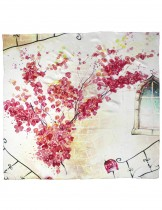 Dahlia Women's 100% Square Silk Scarf Shawl - Flowers Outside the Window - Pink