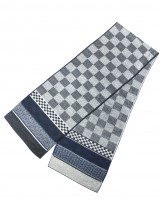 Dahlia Men's Rayon Cashmere-Feel Scarf - Reversible Large Checkers - Gray