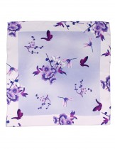 Dahlia Women's 100% Square Silk Scarf - Plum Blossom Neckerchief - Purple