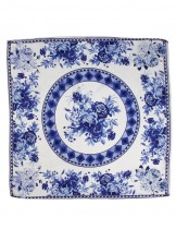 Dahlia Women's 100% Square Silk Scarf - British Rose Neckerchief - Blue