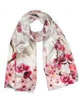 Dahlia Women's 100% Luxury Long Silk Scarf - Watercolor Plum Blossom - Red