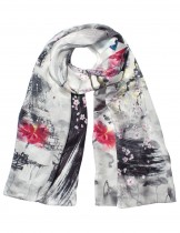 Dahlia Women's 100% Luxury Long Silk Scarf - Flowers Butterfly Ink Painting