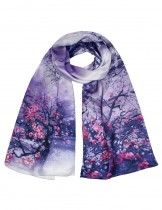 Dahlia Women's 100% Luxury Long Silk Scarf - Village Plum Blossom Painting