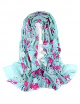 Dahlia Women's 100% Merino Wool Pashmina Scarf - Raindrops and Flower