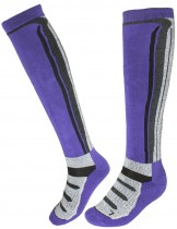 Dahlia Ski Socks - Knee High Striped Violet/Gray - Violet