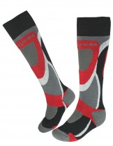 Dahlia Men's Ski Socks - Avalanche Gray/Red
