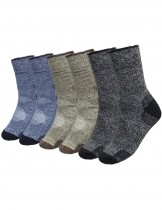Dahlia Men's Winter Socks - Heather Color 3 Pairs - Black Gray Tan