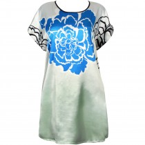 Large Blue Peony Flower Women's Silky Short Nightgown