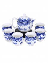 Dahlia Porcelain Butterfly Floral Tea Set (Tea Pot w. Infuser + 6 Dual Layer Tea Cups) in Gift Box