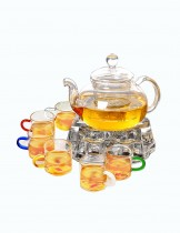 Dahlia Clear Glass Tea Set (20 OZ Tea Pot w. Infuser + 1 Glass Teapot Warmer + 6 Glass Tea Cups)