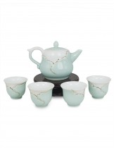 Dahlia Hand Crafted Porcelain Tea Set with Gold trim ( Teapot. Strainer + 4 Tea Cups) in Gift Box