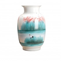 Dahlia Chinese Porcelain Hand Painted Lakeside Decorative Large Vase