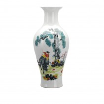 Dahlia Boy Riding Ox Famille Rose Porcelain Tall Flower Vase, 15 Inches, Fish Tail Vase