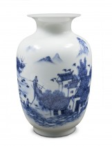 Dahlia Ancient Waterside Village  Blue and White Porcelain Flower Vase, 9 Inch Melon Shaped