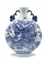 Dahlia Chinese Dragon Hand Embossed Blue and White Porcelain Flower Vase, 13 Inches, Binaural Vase