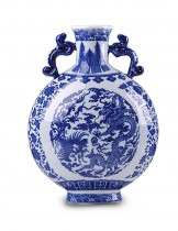 Dahlia Chinese Dragon Motif Blue and White Porcelain Flower Vase, 12 Inches, Binaural Vase