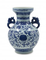 Dahlia Chinese Dragon Motif Blue and White Porcelain Flower Vase, 10 Inches, Binaural Vase