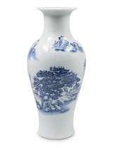 Dahlia Chinese Landscape Painting Blue and White Porcelain Flower Vase, 14 Inches, Fish Tail Vase