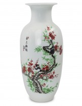 Dahlia Bird on Plum Blossom Famille Rose Porcelain Tall Flower Vase, 15 Inches, Rouleau Vase