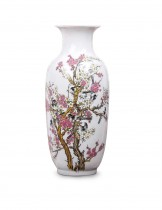 Dahlia Bird on Peach Blossom Famille Rose Porcelain Tall Flower Vase, 15 Inches, Rouleau Vase