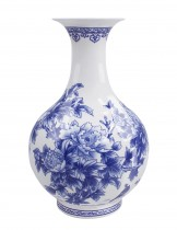 Dahlia Birds in Peony Bush Blue and White Bone China Flower Vase